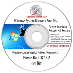 Windows (XP, 7, Vista, 2000, 2003) System Recovery, Restore, Repair Boot Disk CD Tool (32/64Bit)
