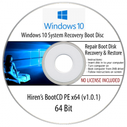 Windows 10 System OS, Recovery, Restore, Repair Boot Disc CD Tool to Fix PC Easy (64Bit)